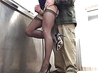 2nd time caught in public toilets by lorry driver PART 2. amateur (gay) big cock (gay) crossdresser (gay)