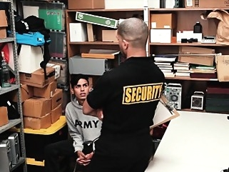 YoungPerps - Latin Guy Used By Security Guard bareback (gay) blowjob (gay) cumshot (gay)