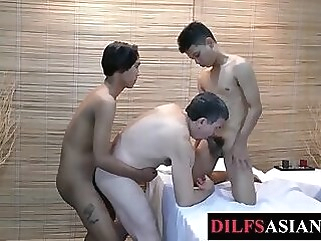 Massaged daddy spitroasted by asian twinks massaged daddy spitroasted by asian twinks
