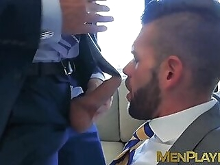 Men in suit and tie vigorously analpound after wet blowjobs hunk office sex big dick