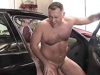 Daddies have sex at a garage anal gay