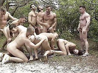GREAT Outdoor Orgy bareback (gay) blowjob (gay) gangbang (gay)