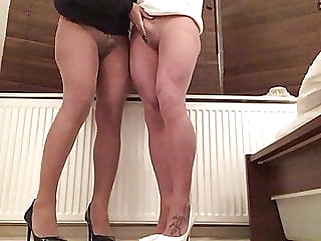 Tan pantyhose and shoes for two . amateur (gay) big cock (gay) crossdresser (gay)