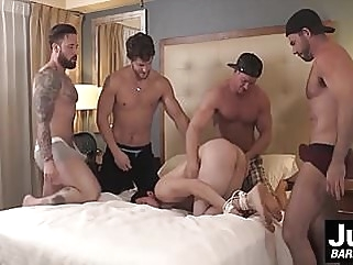 Group of hot muscle dudes plow hard tied up guys asshole gay porn (gay) bareback (gay) big cock (gay)