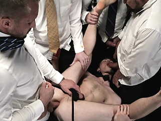 Young boys serve daddies in bareback orgy gangbang bdsm (gay) gangbang (gay) gays (gay)